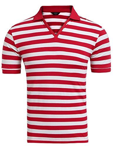 Coofandy Poloshirt Herren Kurzarm Polohemd T-Shirt Gestreift Freizeit Kontrast Rot & Weiß