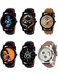 NEUTRON Latest 3D Design Mahadev Damru Hanuman Ganpati Black Blue And Brown Color 6 Watch Combo (B23-B24-B25-B26...