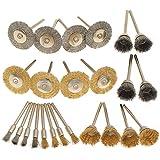 wishfive 24pcs cepillos de latón conjunto de acero alambre pulido Cepillo ruedas para Dremel herramienta rotativa