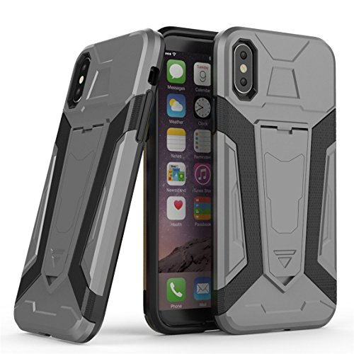 Apple iPhone X Hülle, Voguecase 2 in 1 Dual Layer Hybrid TPU + PC Harte Rück Abdeckung Stoßfest Protective Case Cover Built-in Kickstand (Armored Halterung-Rot) + Gratis Universal Eingabestift Armored Halterung-Grau