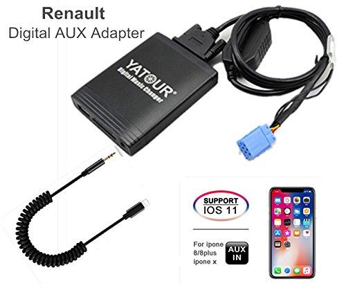 Renault - Adaptador de audio digital para iPhone estéreo AUX con tarjeta SD, iPod MP3 USB, 3,5 mm AUX IN, reproductor de música para 8 pines Renault 1998 – 2011 (REN8)