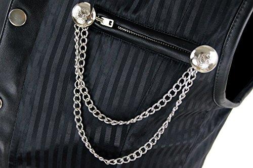 Charmian Men's Spiral Steel Boned Victorian Steampunk Gothic Waistcoat Vest Schwarz
