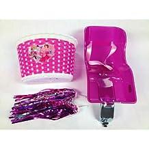 Set con seggiolino posteriore porta bambola per bicicletta da bambina, + cesto motivo principessa, con nappe e stelle filanti