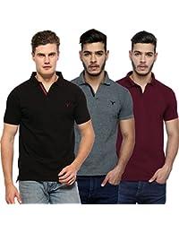 Youthen Solid Men's Cotton Polo Neck T-Shirt - Black, Dark Grey & New Purple