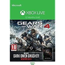 Xbox Live 12 Month Gold Membership + Gears of War 4 'Dark Omen Gnasher' weapon skin DLC [Xbox Live Download Code]