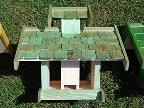 Vogelhaus-futterhaus, BEL-X-VOVIL4-moos002 Großes PREMIUM Vogelhaus WETTERFEST, QUALITÄTS-SCHREINERARBEIT-aus 100% Vollholz, Holz Futterhaus für Vögel, MIT FUTTERSCHACHT Futtervorrat, Vogelfutter-Station Farbe grün moosgrün lindgrün natur/grün, MIT TIEFEM WETTERSCHUTZ-DACH für trockenes Futter - 6