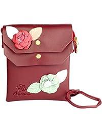 STRIPES Rose Flower Patch Work Cross Body Sling Bag For Women/Girls