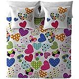 Costura Pop Heart - Juego de fundas nórdica para cama de 90 cm