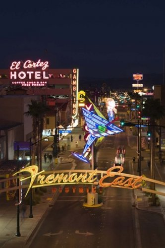 Panoramic Images - Neon casino signs lit up at dusk El Cortez Fremont Street The Strip Las Vegas Nevada USA Photo Print (60,96 x 45,72 cm) - Las Vegas Street Sign