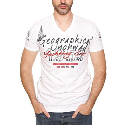 GEOGRAPHICAL NORWAY JEANCLAUDE T-SHIRT MANICHE CORTE Uomo Bianco