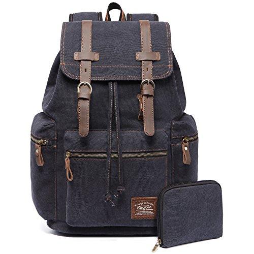 Vintage Rucksäcke,Kaukko Canvas Laptop Rucksack Damen Herren Schulrucksack Daypack Stylisch Backpack für Outdoor Wanderreise Camping mit Großer Kapazität (Schwarz 702-1) (Teen Lesen)
