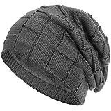 Compagno warm gefütterte Beanie Wintermütze Flechtmuster unifarben oder meliert Einheitsgröße Mütze, Farbe:Grau