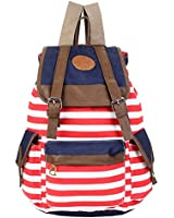 Promithi Unisex Travel Stripe Backpack Canvas Leisure Bags Schooolbag Rucksack Red
