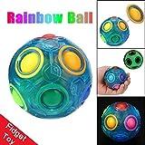 Multicolor Transparente Pop Rainbow Magic Ball Kunststoff Leuchtende Stress Reliever Magic Rainbow Ball Fun Cube Fidget Puzzle Ausbildung Spielzeug Für Kinder / Erwachsene (Blau)