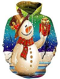 BIAOZH Weihnachtsstrickjacke 3D Mann Langarm Print Sweatshirt Weihnachtsstrickjacke Ugly Christmas Sweater Jumper