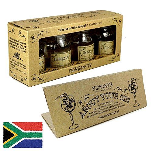 Ginsanity Gin Tasting, Geschmacksspektrum Trial Set in Geschenkbox, inkl. Broschüre und Anleitung (4 x 25ml) - Menu: The Spirit of the Cape (South Africa)