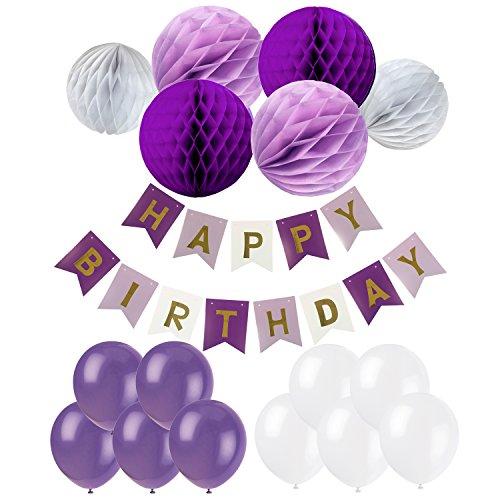 , Recosis Happy Birthday Girlande mit Luftballons Latexballons und Wabenbälle Papier für Geburtstag Dekoration - Violett (Dunkel Lila Luftballons)