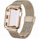INZAKI Kompatibel für Apple Watch Armband mit Hülle 42mm, Edelstahl Netz Schlaufen Armband mit Bildschirmschutz Schlankes case für iWatch Series 3/2 / 1, Sport, Edition,Light Gold