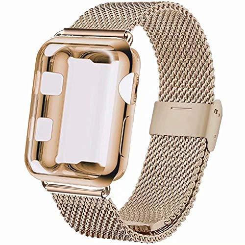 INZAKI Correa con Funda para Apple Watch 42mm, Malla de Acero Inoxidable Correa de Bucle con Protector Pantalla para iWatch Serie 3/2/1, Sport, Edition,Light Oro