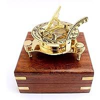 """3""""náutico West London reloj de sol brújula con caja de madera hecha a mano"""