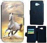 Samsung Galaxy J3 (2016) J310 Hülle Flip Cover Case Schutzhülle für Galaxy J3 Modell 2016 von Samsung Design Wico (1021 Pferd Hengst Weiß)
