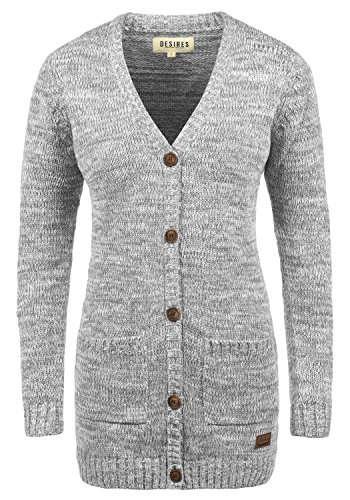 DESIRES Philemona Damen Lange Strickjacke Cardigan Grobstrick Winter Longstrickjacke mit V-Ausschnitt, Größe:M, Farbe:Light Grey Melange (8242)
