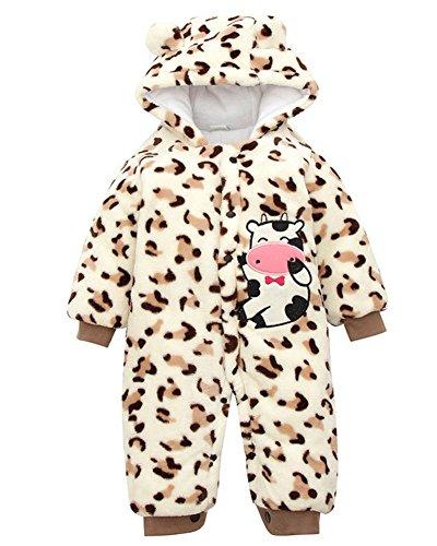 Minetom Herbst Winter Verdickte Overalls Baby Mädchen Jungen Overall Cartoon Coral Fleece Kinderkleidung Warm Einteiler Spieler Kuh Braun 80cm (Kuh Boxer)