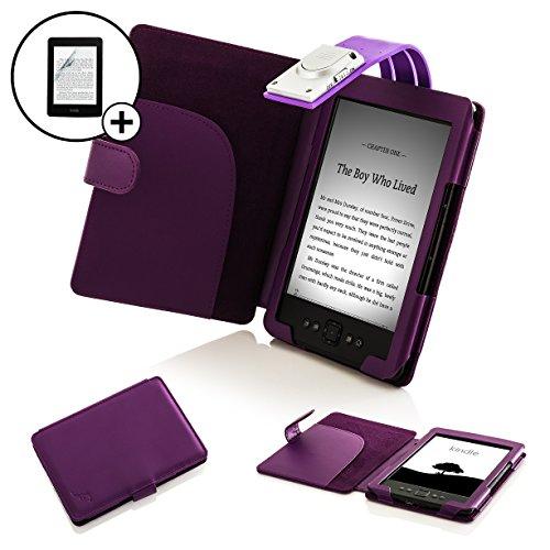 r Schutzhülle Cover Wallet mit LED-Leselampe und Displayschutzfolie für Amazon Kindle 4–blau _ P violett violett Kindle 4 (Amazon-leser Für Pc)