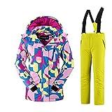 Mädchen Kinder Skianzug Skijacke Skihose Regenlatzhose Verdickung Lang Jacket Wintermantel Mantel Mantel (gelb, 134/140)