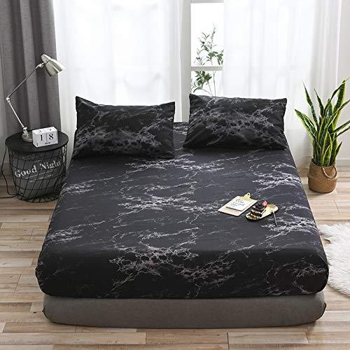 Full-size-bett Bettdecken (FMingnian, Klassische Schwarz-Weiß-Marmor-Muster Tagesdecke Spannbetttuch für Betten Elastische Heimtextilien Twin/Full/Queen/King Bettdecke Set (Color : Black, Size : US Queen UK King))
