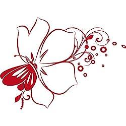 GRAZDesign 560017_40_031 Wandtattoo Blumen | Blumentattoo für Wohnzimmer - Schlafzimmer - Küche | Blumenranken und Pflanzen an die Wand als Wand-Aufkleber (55x40cm//031 rot)