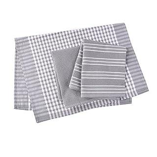 Classic Tea Towels,100% Cotton Kitchen Towels,Waffle Weave Dish Cloths,Vintage Design,3 Pack In Large Size 45x65cm (Grey)