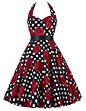 GRACE KARIN® Women's Retro 50s Halterneck Rockabilly Dress Floral Pattern Swing Skater Dress 20Colors