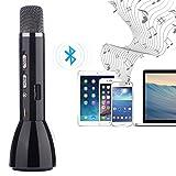 Microfono Bluetooth wireless Fjoy ordini dynamics / Karaoke Player microfono a condensatore / sistema di Studio Kit microfono in modalitš€ remota per KTV educativo Visualizza compatibile con Smartphone Android, Apple Iphone, PC laptop, Tablet, nero immagine
