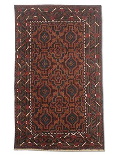 Pak Persian Rugs Handgeknüpfter Baluchi Teppich, Schwarz/Blau, Wolle, Small, 121 X 207 cm - Schwarz Persian Rug
