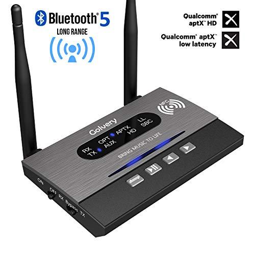 Golvery Long Range Bluetooth 5.0 Sender/Empfänger/Bypass 3-In-1-Wireless-Audio-Adapter für TV-Heim-Audio-Stereoanlage, AptX HD und niedrige Latenz, NFC-Link, optischer Toslink-Anschluss (Aux Cinch)