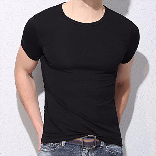 QIYUN.Z Lässige Männer Einfarbig Kurzarm Rundhals Bodycon Dünnes Hemd Bluse T-Shirt Schwarz