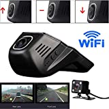 Voberry Dash Cam, Doppelobjektiv Wifi HD 1080P Auto DVR Videokamera Recorder Nachtsicht Dash Cam