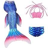 Le SSara Mädchen Hai Cosplay Kostüm Bademode Meerjungfrau Shell Badeanzug Sets (150, A rosa + blau)