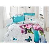 3D Meri 3 Stück 100% Baumwolle Bettbezug Bettwäsche Set, Weiß