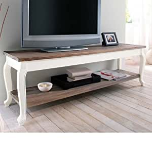 tv tisch country aus mdf holz wei braun k che haushalt. Black Bedroom Furniture Sets. Home Design Ideas