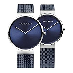 BOS His and Hers Ultra Thin Simple Quartz Wrist Couple Watches for Lovers Mesh Bracklet Blue 8010