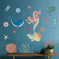 decalmile Rainbow Mermaid Wall Stickers Under the Sea Whale Coral Wall Decals Baby Girls Bedroom Kids Nursery Bathroom Wall Decor