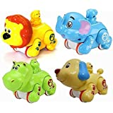 Siddhi Vinayak Colourful Press and Go Friction Animal Toys (Pack of 2) Best for Return Gifts
