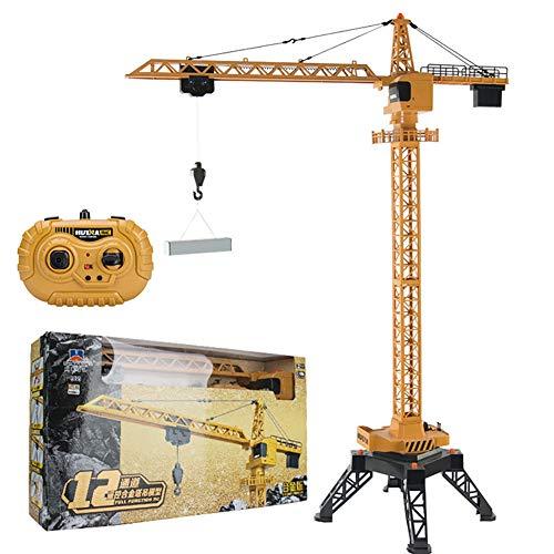 TTGE Fernbedienung Elektrisch Groß Turmdrehkran 125CM Legierung Hohe Simulation Kran Voll funktionsfähig Giant Crane Kinderspielzeug, gelb