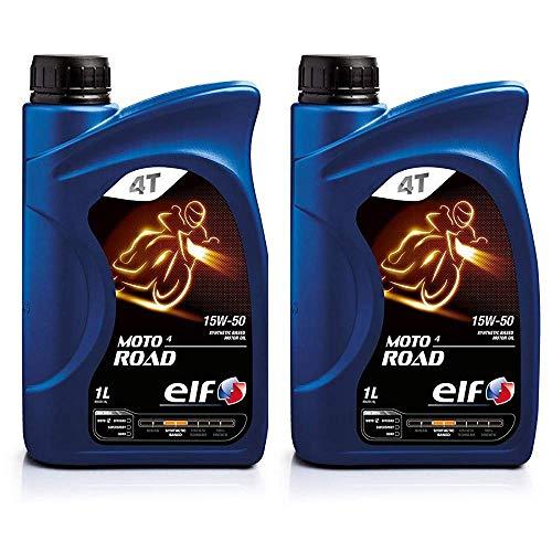 ELF Moto 4 Road 15W-50 Lubrificante Motore per Moto a 4 Tempi Base Sintetica 2x1 Litro