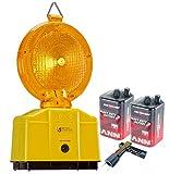 Baustellenleuchte, LED, Warnleuchte gelb - mit Secura-Halter, inkl. 2 x 6 Volt Batterien und 1 x Lampenschlüssel