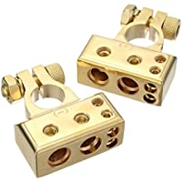 Audew Batterieklemme Autobatterie Klemmen Positiv und Negativ 1 Paar 4/8 Awg Battery Terminal Gold