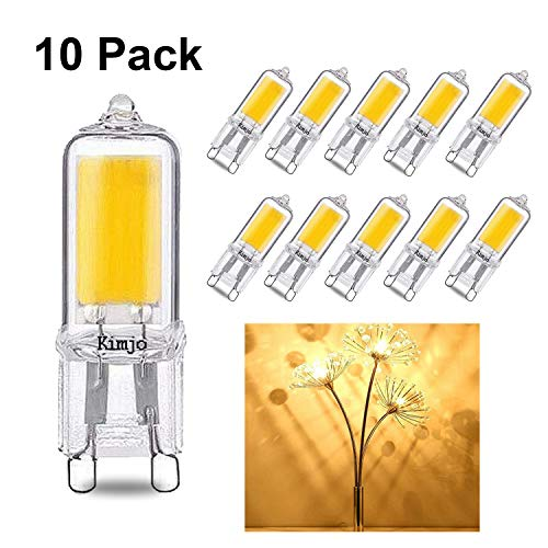 Lampadina LED G9 2W COB Kimjo, Equivalente di Lampada Alogena da 20W Bianco Caldo 2800K 220LM 82Ra 230V Non Dimmerabile 10 Pezzi