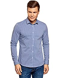 04950bf4cc1 oodji Ultra Hombre Camisa Extra Slim a Cuadros Pequeños